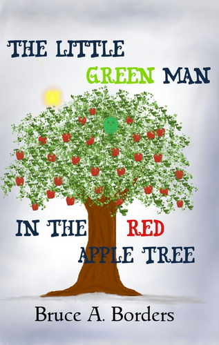 little-green-man-in-the-red-apple-tree-the